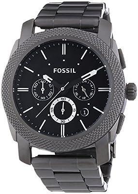 Fossil FS4662 de cuarzo para hombre con correa de acero inoxidable bañado, color gris