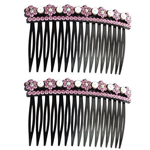 Deal Mux plastique de fleurs femme Coiffure Décor marqueterie 16 dents de peigne cheveux Clips 2 pièces Rose
