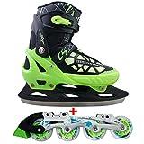Cox Swain 2 in 1 Kinder Skates-/Schlittschuh -Blake- LED Leuchtrollen, ABEC 7 Carbon Lager, Colour: Black Green, Size: S (33-36)