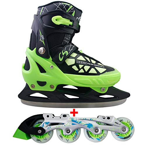 Cox Swain 2 in 1 Kinder Skates-/Schlittschuh -Blake- LED Leuchtrollen, ABEC 7 Carbon Lager, Colour: Black Green, Size: XS (29-32)