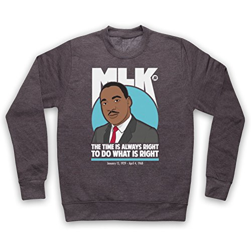 Inspiriert durch Martin Luther King Jr The Time Is Always Right Inoffiziell Erwachsenen Sweatshirt, Holzkohle, 2XL