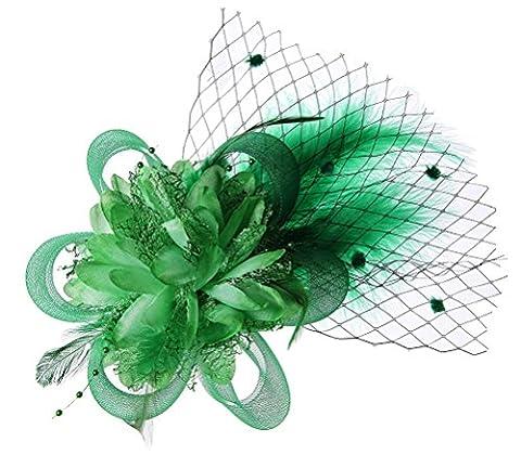 Abnehmbare Fascinator Haar-Klipp-Feder-Hochzeit Kopfbedeckung Braut 1920er Kopfstück Corsage (Grün)