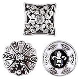 Morella–® de mujer Small Click Button Set 3unidades Impresión Botones 12mm de diámetro Edler Cambio joyas