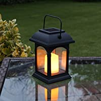 Garden Candle Lantern - Solar Powered - Flickering Effect - Amber LED - 15cm by Festive Lights 27