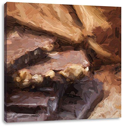 Leckere Schokolade Pinsel Effekt, Format: 70x70 auf Leinwand, XXL riesige Bilder fertig gerahmt mit Keilrahmen, Kunstdruck auf Wandbild mit Rahmen, günstiger als Gemälde oder Ölbild, kein Poster oder Plakat -