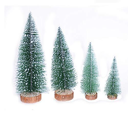 4 Stück Künstlicher Weihnachtsbaum MuSheng Mini Kiefer Natur Weiß Weiss Beschneit Christbaum mit Weihnachtsdeko Geschmückter, Baum Hoch 15cm-30cm (Mehrfarbig)
