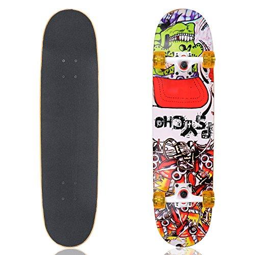 Vokul Skateboard alta rimbalzo Ponte completo Longboard Cruiser Skateboard, Black-Yellow