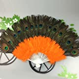 Lazzboy Peacock Feather Mano Pieghevole Ventaglio Showgirl Fancy Dance Elegante plastica Costume Party Matrimonio Sposa Decorazioni Opera(Arancione,37cm)