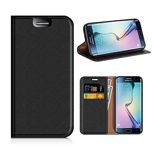 MOBESV Samsung Galaxy S6 Edge Hülle Leder, Samsung S6 Edge Tasche Lederhülle/Wallet Case/Ledertasche Handyhülle/Schutzhülle mit Kartenfach für Samsung Galaxy S6 Edge - Schwarz