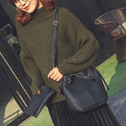 Borsetta In Pelle Artificiale, Moda Donna In Pelle Litchi Stria Borsetta Crossbody Spalla Bag + Pochette Portafoglio by Kangrunmy Nero