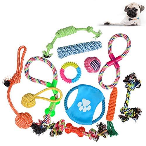 ATPWONZ 12 Conjuntos Mordedores Pet Juguete para Masticar Cuerda de Algodón