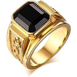 Hombre Moderno Moda Acero Inoxidable Diamante de Imitación Patrón de Dragón Anillo Chapado en Oro