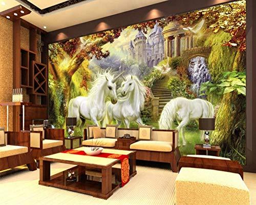 Kinderzimmer Hintergrund Dekoration 3D Wallpaper Wald White Horse Unicorn Hintergrund Wandtapete, 150 × 105Cm