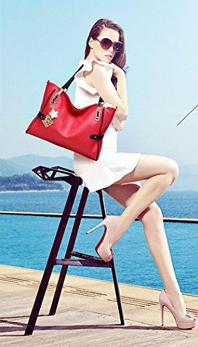 Sunas Borse casuali borse moda borsa tracolla Messenger femminile vino rosso