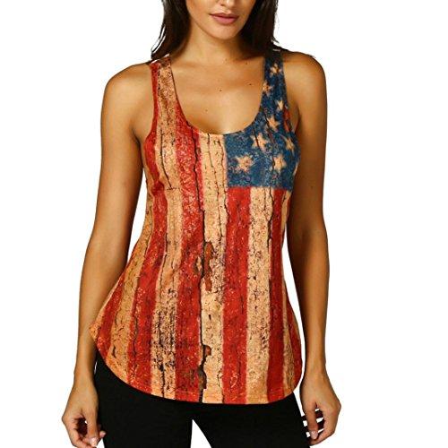 TUDUZ Damen Spitze Armelloses Top American Flag Tank Tops Casual Bluse T-Shirt (Mehrfarbig, XL)