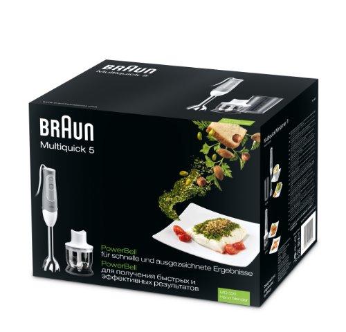 Braun MQ520 Pasta   Batidora con mini picadora de 350 ml  600 W  plástico  acero inoxidable  color gris