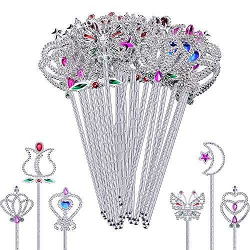 E-CHENG 24 Pieces Plastic Fairy Metallic Magic Dress-up Wand Princess Wands Girl''s Princess Costume Role Play