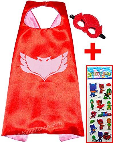 PJ Masks Eulette Pyjamahelden Owlette Rot Cape und Maske + Aufkleber! Superhelden-Kostüme für Kinder - Kostüm für Kinder von 3 bis 10 Jahre - für Superheld Mottopartys! Spielsachen für Jungen und Mädchen - King Mungo - KMSC022 (Supergirl Kostüm Cape)
