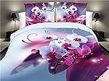 PZJ® ropa de cama de 4 piezas, Juego de cama 3D, Incluye 1 funda nórdica, 1 sábana y 2 Funda de almohada, Hecho de algodón con 100% nuevo, Multicolor [Clase de eficiencia energética A+++]
