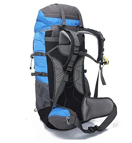 Hebike grande capienza 65L zaino sport outdoor escursionismo arrampicata corsa campeggio alpinismo viaggio zaino antipioggia borsa a tracolla, Blue Blue