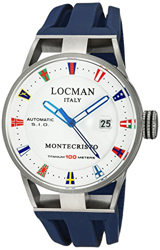 Locman Italy Men's Analog Automatic-self-Wind Watch with Rubber Strap 051100WHFLAGGOB