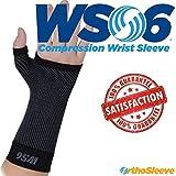 orthosleeve® WS6Handgelenk Sleeve | Exklusive 6Zone Kompression Technologie® | leicht, flexibel Komfort | Form zu passen Design | Karpaltunnelsyndrom, Verstauchungen, Arthritis Schmerzlinderung | steigert Durchblutung | 30Tage Garantie