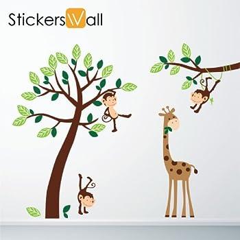 Great Monkey Giraffe Tree Nursery Jungle Wall Stickers Part 27