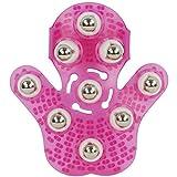 LIFECART Massager Ball Palm Massager Glove Metal Rolling Ball Massage Body Hand Massager Beauty Massager Glove - Deep Pink