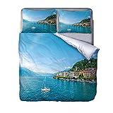 QIHANGYA Printed Duvet Cover Set Coastal cities 3 Pcs Ultra Soft Hypoallergenic Microfiber Quilt Cover Sets 230x260cm