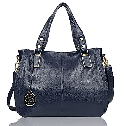 EGOGO Damen Shopper Handtasche Leder Henkeltasche Für Fraun Schultertasche Reisen Arbeit und Einkäufe E522-6 (Blau)