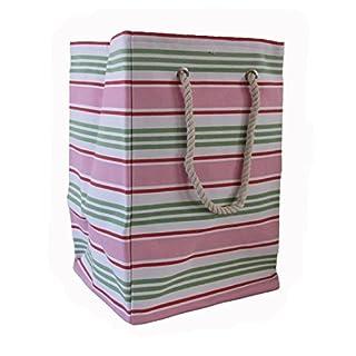 Lovely Pink Grün und Weiß gestreift Design Weiche versenkbarer hoch Quadratischer Boden Aufbewahrungsbox Tasche für Toys und Wäschesack mit Seil Griffe