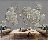YUANLINGWEI Benutzerdefinierte Mural Tapete Chinesischen Stil 3D Geprägtes Lotus Blatt Fisch Muster Liveing Zimmer Wand Dekoration Wandbild Tapete,130Cm (H) X 210Cm (W)