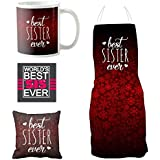 YaYa Cafe Birthday Bhaidooj Gifts For Sister Combo, Best Sister Ever Set Of 4 - Mug, Coaster, Cushion Cover, Apron