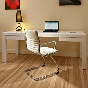 Cantilever Visitor Boardroom Office Chair Ivory Leather Ergonomic R1 Amazon
