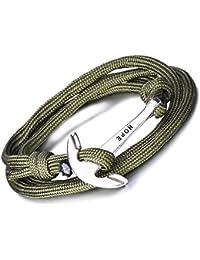 Unendlich U Hope - Pulsera con diseño de ancla de cuerda de nailon trenzada y aleación, con varias tiras entrecruzadas, para hombre y mujer (1unidad)