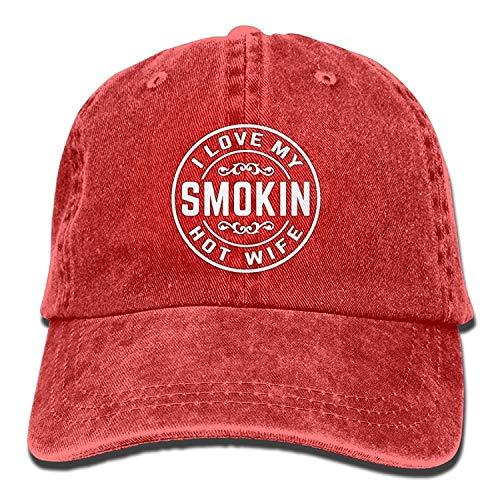 Hoswee Unisex Kappe/Baseballkappe, Washed I Love My Smokin Hot Wife Classic Denim Baseball Cap Adjustable Trucker Hat -