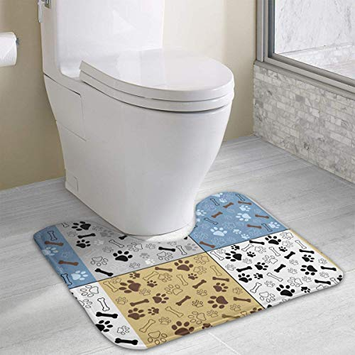 (Hoklcvd Dog Paw and Bone U-Shaped Toilet Floor Rug Non-Slip Toilet Carpets Bathroom Carpet)