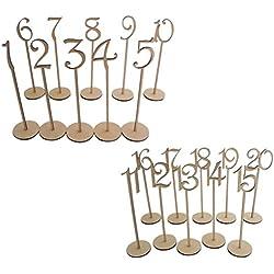20 números de mesa de madera con Base de soporte (Color madera)