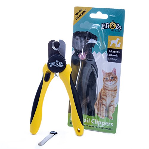Professional-Grade Dog and Cat Nail Clippers by Fifi&Bo with Protective Guard, Safety Lock and Nail File – Best for Medium and Large Breeds.