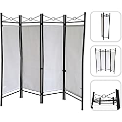 Todeco - Biombo, Divisor de Habitaciones - Panel: 100% Poliéster - Número de paneles: 4 - 180 x 160 cm, Blanco