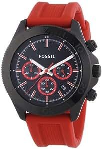 Fossil - CH2871 - Montre Homme - Quartz Chronographe - Chronomètre/ Aiguilles lumineuses - Bracelet Silicone Rouge