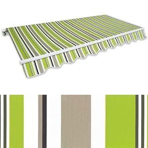 Gelenkarm-Markise 3,5 x 2,5 m grün-braun (Profilfarbe: Weiß) Sonnenschutz Alu Markise Schattenspender Sonnensegel