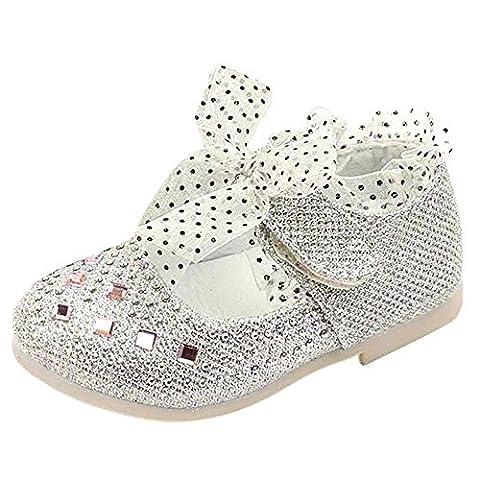 Hunpta Baby Mädchen Prinzessin Schuhe Kind Spitze Diamanten Leder Tanzschuhe (Alter: 32 ~ 36M, Weiß)