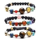 Jovivi - 3 braccialetti con pietre laviche naturali, galassia, sistema solare, universo, i nove pianeti, stelle, pietre naturali