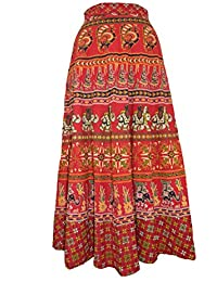 Chanchal Women's Cotton Red Wrap Around Skirt (CHNCHLWRPSKI714_RED IN MULTICOLOR_FREE SIZE)
