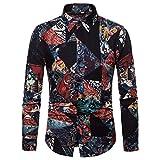 Ginli Camicia Etnica Uomo Stampa Tradizionale Hippy Boho Camicia Uomo Eleganti Slim Fit Casual Manica Lunga T-Shirt
