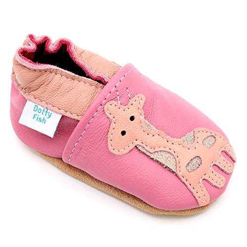 Dotty Fish - Scarpine in pelle prima infanzia - Ragazza - giraffa rosa - 12-18 Mesi