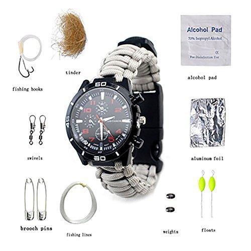 LLCP Multifunktionaler Sport Flint Compass Watch, Bergsteiger Outdoor-Kletterausrüstung, Camping-Wander Licht-Notfall-Uhr,White