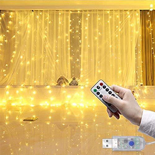 AQUYY LED-Vorhang-Licht-Schnur-feenhaftes Licht, USB Powered Wasserdicht, 8 Modi Fernbedienung Für Garten, Weihnachten, Schlafzimmer Hochzeitsdekoration, Warmes Weiß 3x3m