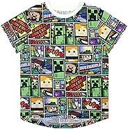 Manga Corta Minecraft Overworld Steve Enredadera del niño Camiseta